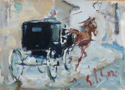 Quadro di Gino Paolo Gori Dopo la pioggia - olio cartone telato