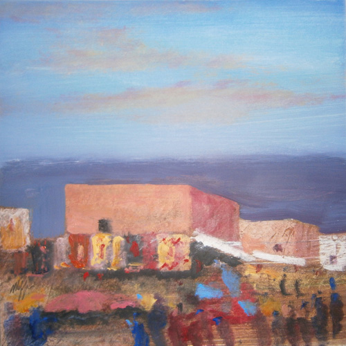 Art work by Salvatore Magazzini Piazza dei tappeti - oil paper on table