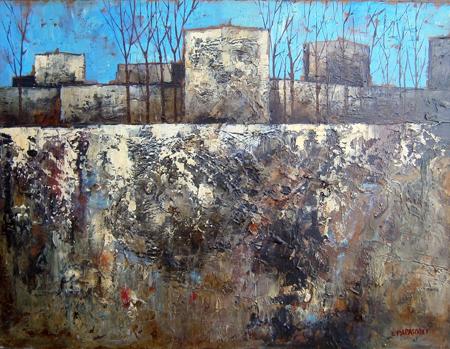 Quadro di Leonardo Papasogli Paesaggio - olio faesite