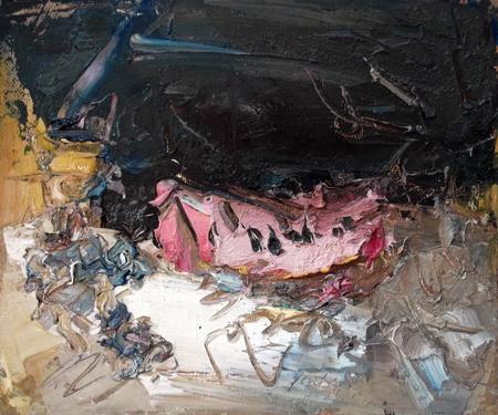 Quadro di Sergio Scatizzi Natura morta con anguria - olio tela di juta