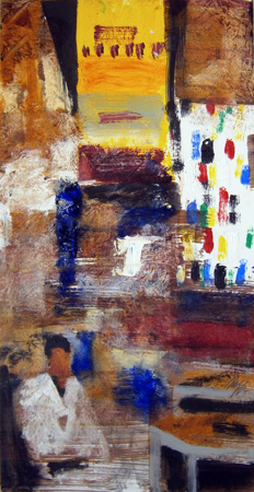 Art work by Salvatore Magazzini Souck - oil paper on table