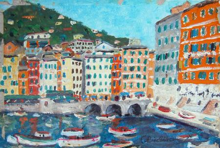 Quadro di firma Illeggibile Portofino - Pittori contemporanei galleria Firenze Art