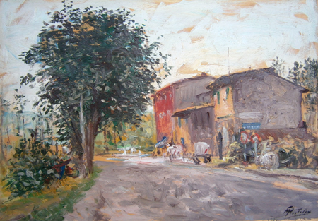 Art work by Rutilio Muti Casa del Prosciutto - Vicchio di Mugello - oil plywood