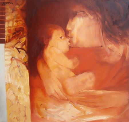 Quadro di Piero Tredici Maternità - olio tela