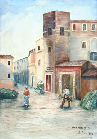 Art work by firma Illeggibile Piazza Torre Margana a Roma - oil canvas
