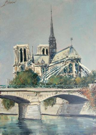 Quadro di  Palazzi Notre Dame de Paris - olio tela