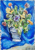 Quadro di A. Mazzoni - Vaso di fiori olio tela