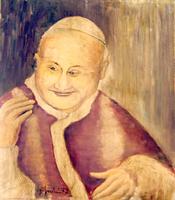 Quadro di firma Illeggibile - Papa Giovanni  XXIII olio tela