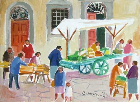 Quadro di Rodolfo Marma Angolo di mercato - olio tela