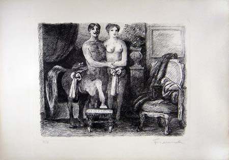 Art work by Salvatore Fiume  Figure  - lithography paper