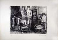 Work of Salvatore Fiume  - Figure  lithography paper