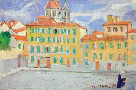 Quadro di Rodolfo Marma Piazza del Carmine - olio tavola
