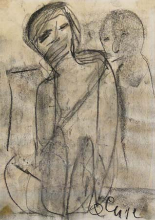 Art work by firma Illeggibile Figura - charcoal paper