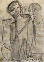 Work of firma Illeggibile - Figura charcoal paper