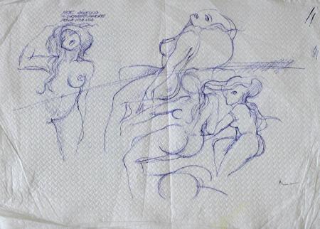 Quadro di Claude Falbriard Figure femminili - penna biro carta