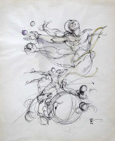Quadro di Claude Falbriard Figure - mista carta