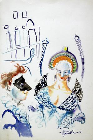 Quadro di Luigi Pignataro Carnevale a Venezia - Pittori contemporanei galleria Firenze Art