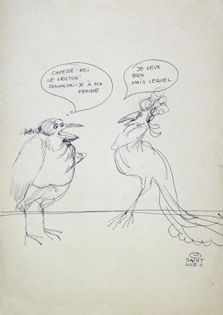 Quadro di Claude Falbriard Vignette - penna biro carta