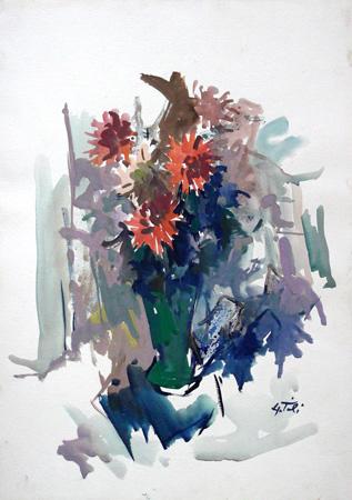 Quadro di Gino Tili Vaso d fiori - acquerello carta