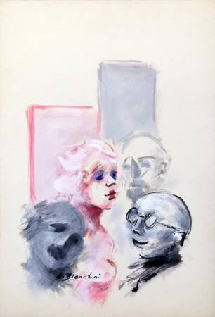 Quadro di Umberto Bianchini Rosa e Grigio - tempera cartone