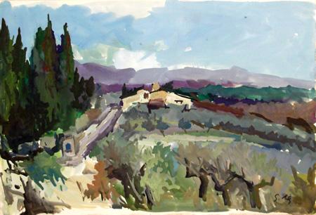 Quadro di Gino Tili Paesaggio toscano - tempera carta