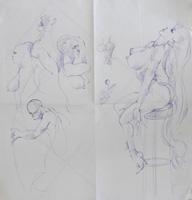 Quadro di Claude Falbriard - Figure penna biro carta