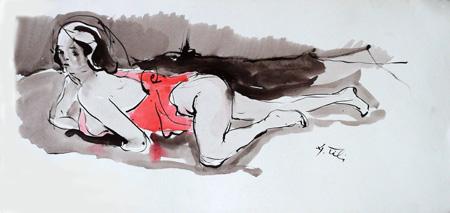 Art work by Gino Tili Nudo - mixed paper
