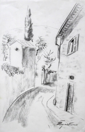Art work by Luigi Pignataro Via San Leonardo - Firenze - charcoal paper
