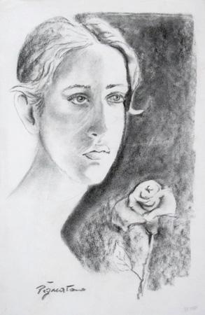 Art work by Luigi Pignataro Ritratto con rosa - charcoal paper