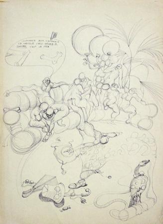 Quadro di Claude Falbriard Composizione - penna biro carta