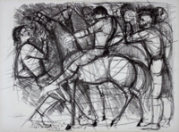 Work of P. Malato - Figure con cavallo lithography paper
