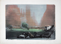 Work of Luciano Guarnieri - Central Park lithography paper