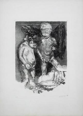 Quadro di Renzo Vespignani Bambini - litografia carta