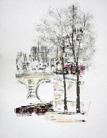 Art work by firma Illeggibile Paesaggio urbano - varnish paper