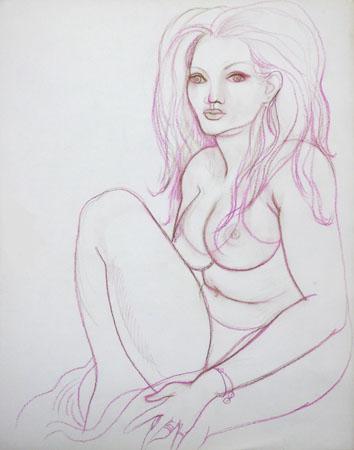 Quadro di Claude Falbriard Nudo - mista carta