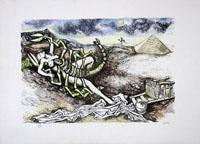 Quadro di Renato Guttuso - Segni zodiacali - Scorpione litografia carta
