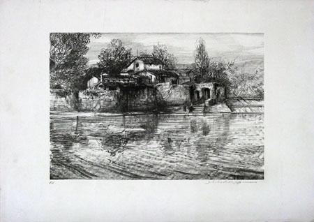 Quadro di firma Illeggibile Paesaggio  - Pittori contemporanei galleria Firenze Art