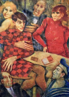 Quadro di Remo Squillantini - Vestito a scacchi litografia carta