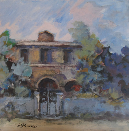 Quadro di Umberto Bianchini Casa e viale - Pittori contemporanei galleria Firenze Art