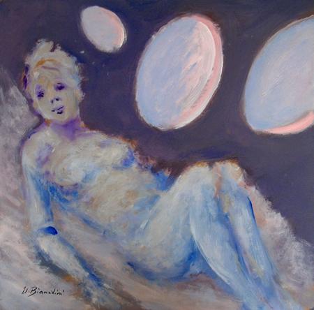 Quadro di Umberto Bianchini Interno con figura - mista faesite