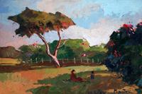 Quadro di  Bartoli - Paesaggio olio faesite