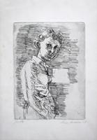 Quadro di Enzo Faraoni - Figura litografia carta