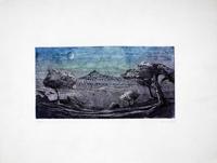 Quadro di  Mannelli - Paesaggio notturno litografia carta
