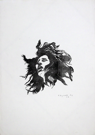 Art work by Franco Tanganelli Volto - lithography paper