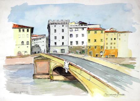Quadro di Claudio da Firenze Ponte S.Trinita - acquerello carta