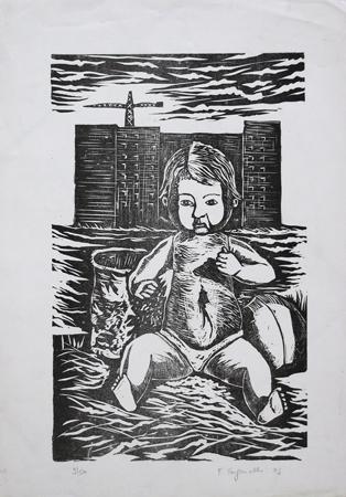 Quadro di Franco Tanganelli Figura - xilografia carta