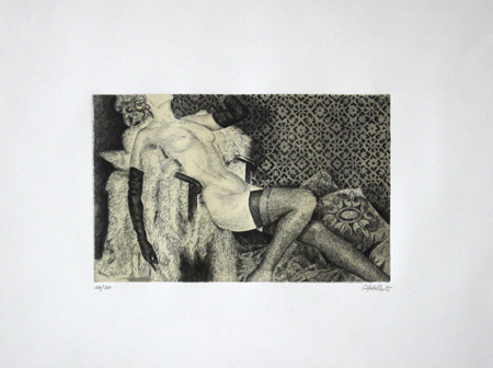 Art work by firma Illeggibile Figura di donna - lithography paper