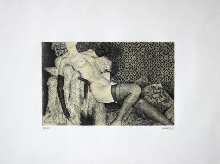 Quadro di firma Illeggibile Figura di donna - litografia carta