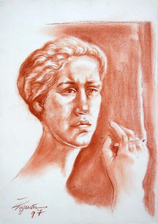 Quadro di Luigi Pignataro La fumatrice  - sanguigna carta