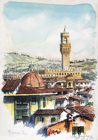 Quadro di Elio Bargagni Panorama di Firenze - acquerello carta